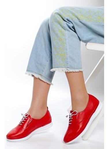 Derithy Hakiki Deri Sneaker Kırmızı